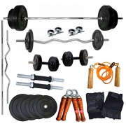 Gym Fit Home Gym Combo 20 Kg Weight + 5 Ft Plain Rod + 3 Ft Curl Rod + All Gym Accessories