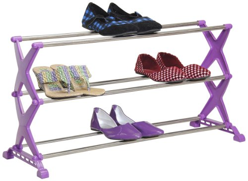 Bonita 3 Tier Stylo Shoe Rack (Grey and Purple)