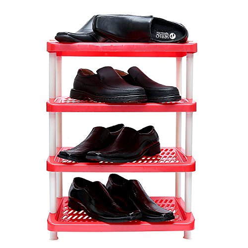 OutMad Orange Portable Multicolor Four Shelf Storage Foldable Shoe Rack