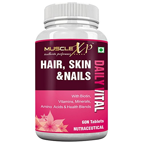 MuscleXP Biotin Hair, Skin & Nails Complete MultiVitamin With Amino Acids (36 Nutrients) 60 Tablets - Useful for Hairfall, Hair Loss