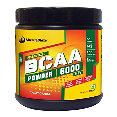 MuscleBlaze BCAA 6000 Amino Acid Powder, 0.88 lbs/400g, 50 Servings (Tangy Orange)