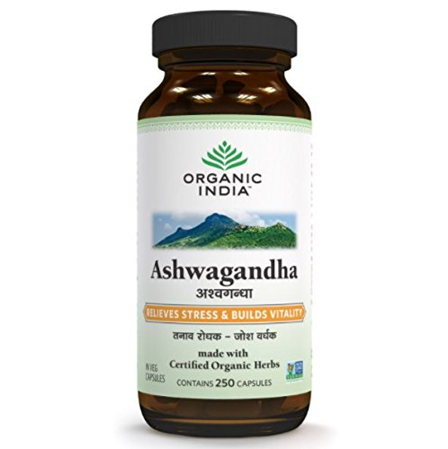 Organic India Ashwagandha 250 Capsules Bottle