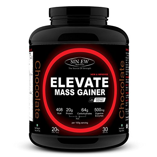 Sinew Nutrition Elevate Mass Gainer with Digestive Enzymes, 3 kg (Chocolate Flavour)