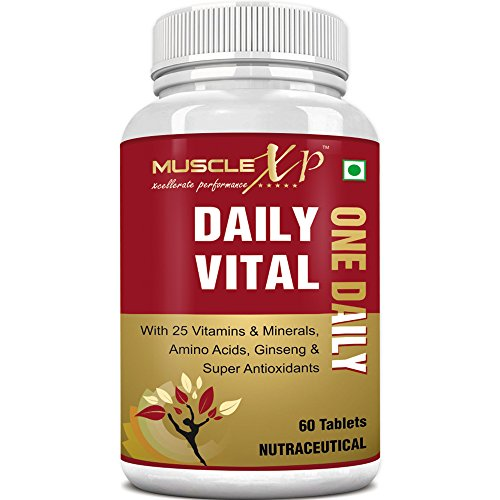 MuscleXP Daily Vital Multivitamin With 25 Vitamins & Minerals, 5 Super Antioxidants & Ginseng, 60 Tablets