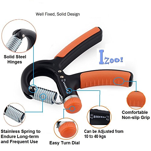 Izoo Adjustable Hand Gripper - Exerciser Strengthener Hand Exerciser Resistance 10Kg To 40Kg For Gym,Strong Wrist, Finger, Forearms