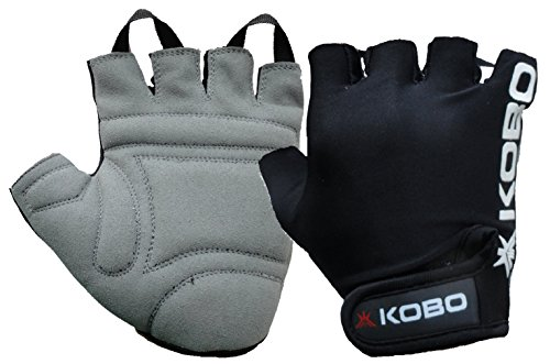 Kobo WTG-05 Leather Gym Gloves, Medium (Black)